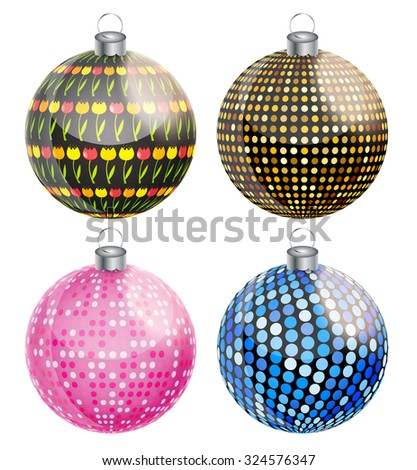 New Year and Christmas Balls Set Vector Illustration EPS10