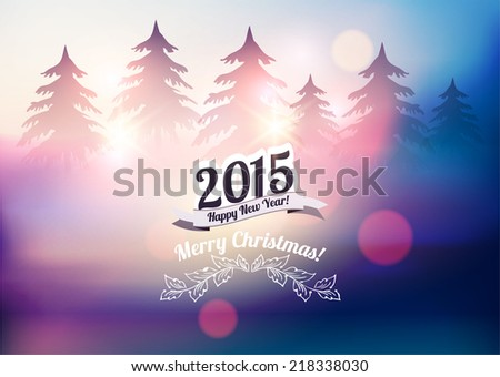 New Year and Christmas Card-Mountain Landscape  - stock vector