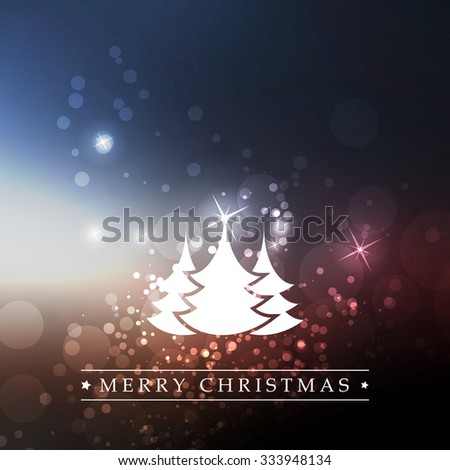 New Year And Christmas Card With Christmas Trees And A Sparkling Blurred Background - stock vector