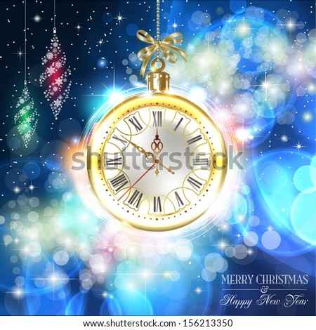 New year and Christmas celebration. Holidays, stylish design. Beautiful, vintage clock shows 10 minutes to midnight time. Greetings card. Time to celebrate. Vector EPS 10 illustration. - stock vector