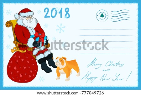 New year christmas greeting postcard 2018 stock vector 777049726 new year and christmas greeting postcard 2018 year of the dog by chinese astrology calendar m4hsunfo
