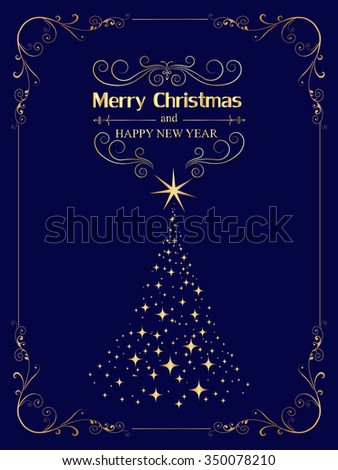 New year and Christmas greetings design. Elegant Christmas card with golden Christmas tree