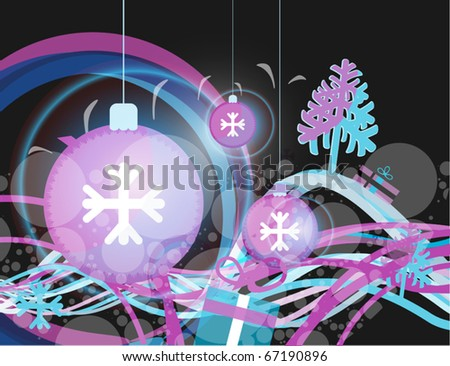 New Year and Christmas image, with snow balls