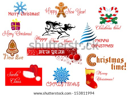 New Year and Christmas symbols set with holiday scripts. Jpeg version also available in gallery - stock vector