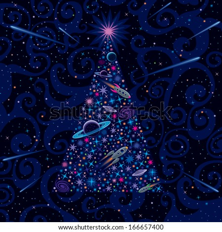 New Year And Christmas Tree. Cosmic Background - stock vector