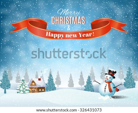 New year and Christmas winter landscape background with snowman. Vector illustration.