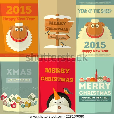 New Year and Merry Christmas Cards with Cute Cartoon Sheep, Snowman in Retro Style. Vector Illustration. - stock vector