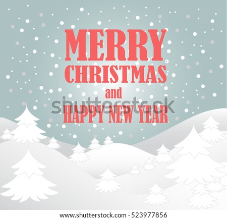 New Year And Merry Christmas Greeting Card. Vector Winter Background. Esp 10