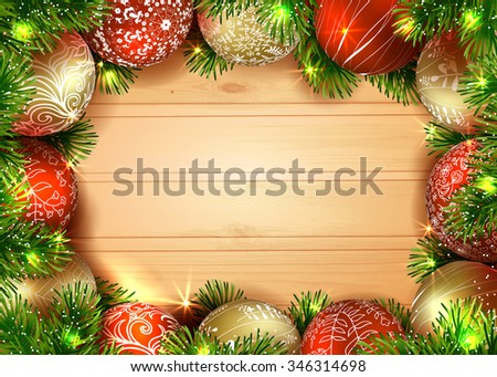 New Year and Merry Christmas. Template vector card. Christmas tree with golden and red balls on the wood table. Shiny Christmas background. Christmas garland.  - stock vector