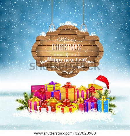 New year and  Merry Christmas Winter background with presents and gift boxes . Vector illustration,  concept for greeting or postal card - stock vector