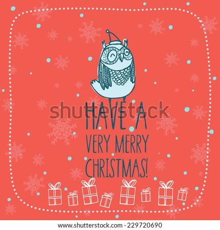 new year and x-mas card  with cute cartoon owl - stock vector