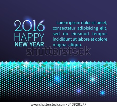 New Year 2016 background. Blue shining horizontal border with sparkling sequins in the disco style