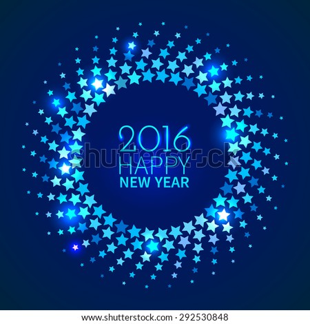 New Year 2016 background. Blue shining round frame with stars in the disco style - stock vector