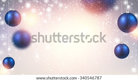 New Year background with blue balls. Vector Illustration.