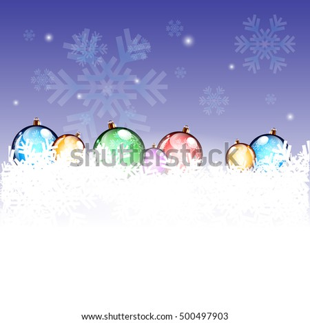 New Year Background with Colorful Decorating Balls in Snow and Snowflakes. Vector Rendering
