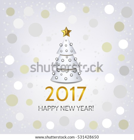 New Year background with elegant white Christmas tree and Happy New Year 2017! Inscription. Can be used in 2017 as a decorative background and new year 2017 greeting card. Vector illustration