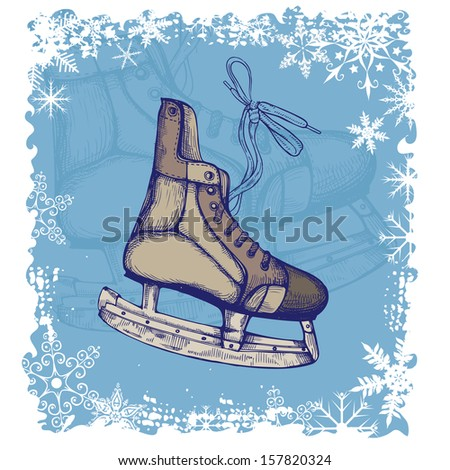 New Year background with Hand Drawn Illustration of Old Retro Skates