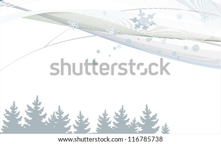 New Year background with lines, trees and snowflakes - stock vector