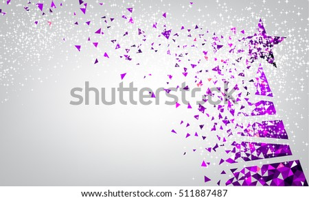 new year background with purple christmas tree vector illustration - Purple Christmas Tree