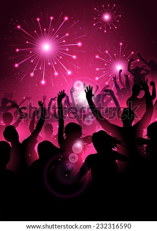 New year background with silhouettes and firework - vector