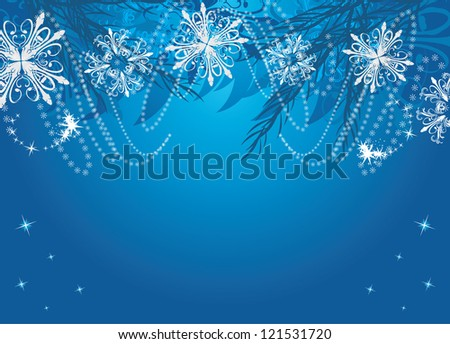 New Year background with snowflakes and Christmas fir tree. Vector - stock vector