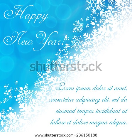 New Year background with snowflakes and white space for text - stock vector