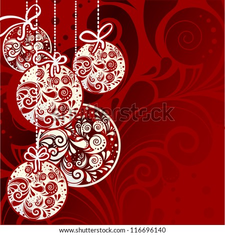 New year ball postcard - stock vector