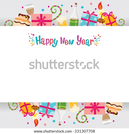 New Year Banner, Happy New Year, Merry Christmas, Xmas, Objects, Festive, Celebrations - stock vector