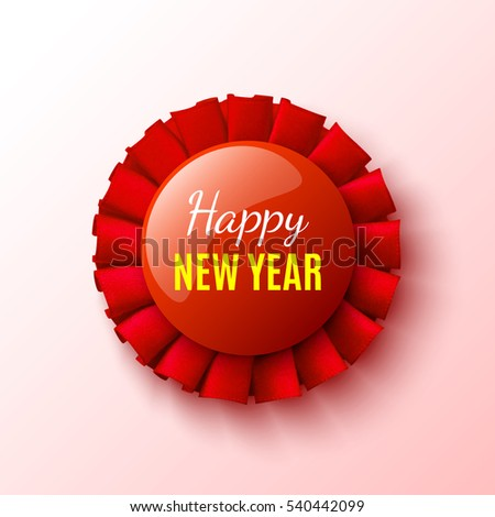 new year banner red ribbon round stock vector royalty free
