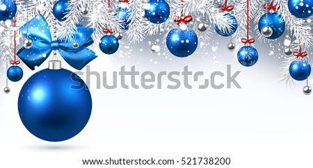 New Year banner with blue Christmas balls. Vector illustration.