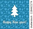 New Year banner with snowflakes and Christmas tree - stock vector
