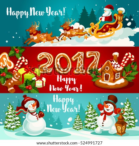 New Year banners with Santa Claus flying on sleigh with reindeer, xmas gift, gingerbread house and man with holly berry and ginger cookie number 2017, snowman with gift bag and lantern.