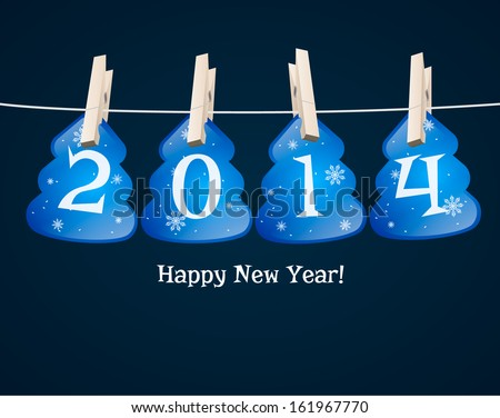 New Year 2014 blue cards in the form of Christmas trees background. vector - stock vector
