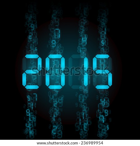 New Year 2015: blue digital numerals on black. - stock vector