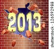 New Year 2013 breaking through red brick wall - stock photo