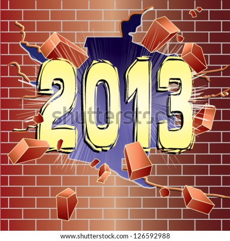 New Year 2013 breaking through red brick wall - stock vector