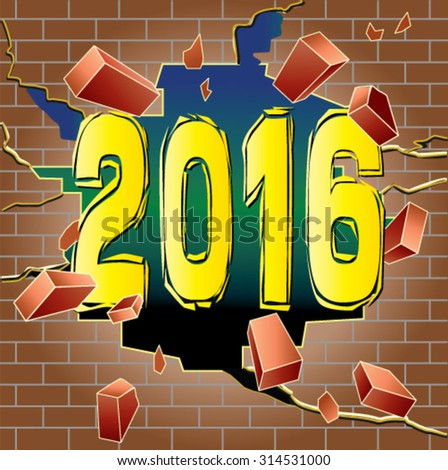 new year 2016 breaking through red brick wall - stock vector