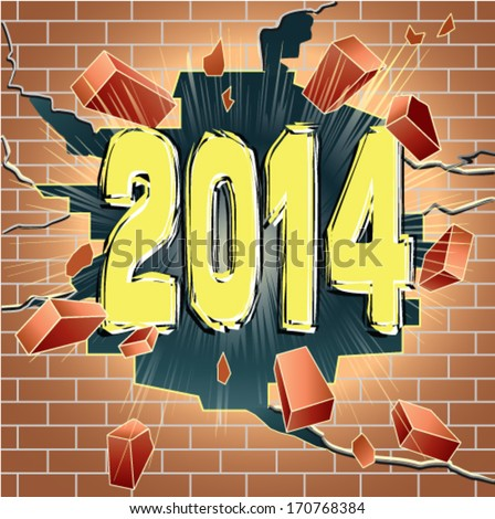 New Year 2014 breaking through red brick wall. Good or bed year. - stock vector