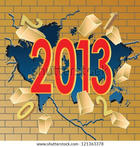 New 2013 year breaking trough world map and old year digits - stock vector