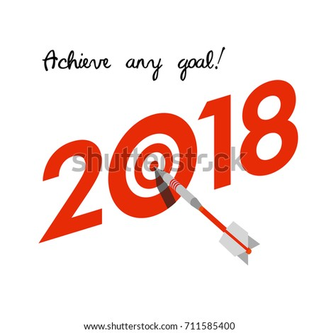 New Year 2018 Business Concept Target Stock Vector