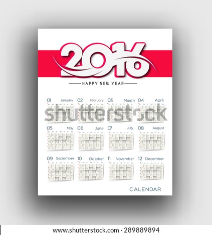 New year 2016 Calendar Design. - stock vector