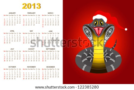 New Year Calendar for 2013 year with smiled snake (week starts with sunday). - stock vector