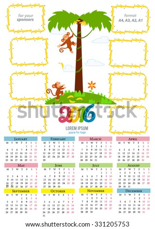 New year calendar with cute cartoon monkey and 2016 figures. Place for sponsor