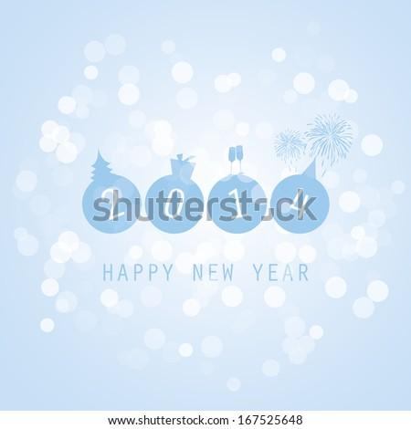 New Year Card - 2014 - stock vector