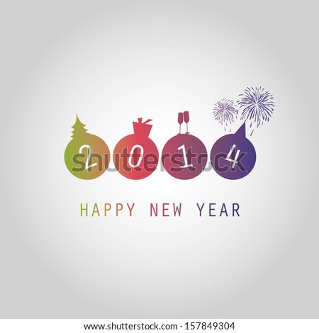 New Year Card Background - 2014 - stock vector