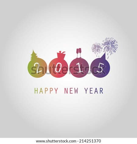 New Year Card Background - 2015 - stock vector