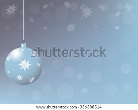 New Year card, blue ball against the background of the winter sky, vector illustration