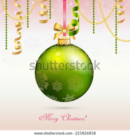 New year card, Christmas Ball with Ribbon. Xmas Decorations. Sparkles and bokeh. Shiny and glowing. Holiday Design for New Year Greeting Cards, Posters and Flyers. Vector. - stock vector