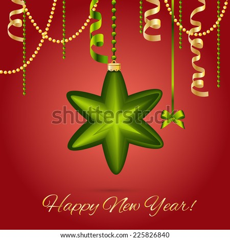 New year card, Christmas Star Ball with Ribbon. Xmas Decorations. Sparkles and bokeh. Shiny and glowing. Holiday Design for New Year Greeting Cards, Posters and Flyers. Vector. - stock vector