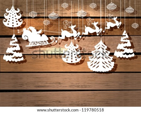 New year card for holiday design with Santa Claus in sleigh, vector